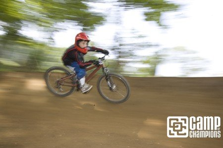Eight year old Camper Max picking up speed on his new bike. First day on a new bike is always the best.