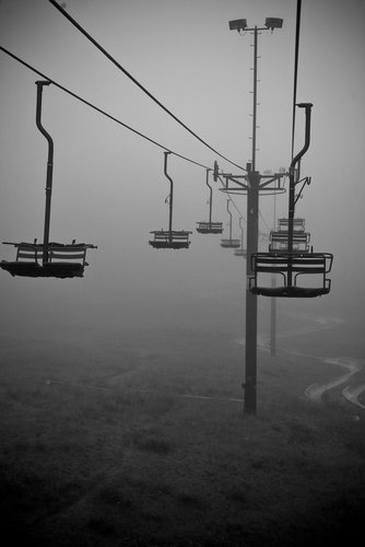 First Chair, Lower Bowl in the dreary Sunday Morning Fog
