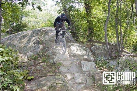 Camper Mitch Hitting a rock line up top