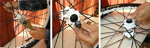 After you have adjusted the hub bearings slip the 14mm wrench on the left side axle and use the 17mm cone wrench to tighten the drive-side endcap snug is good don t overdo it . Slide the let-side endcap onto the axle and then snap it into place with hand pressure.